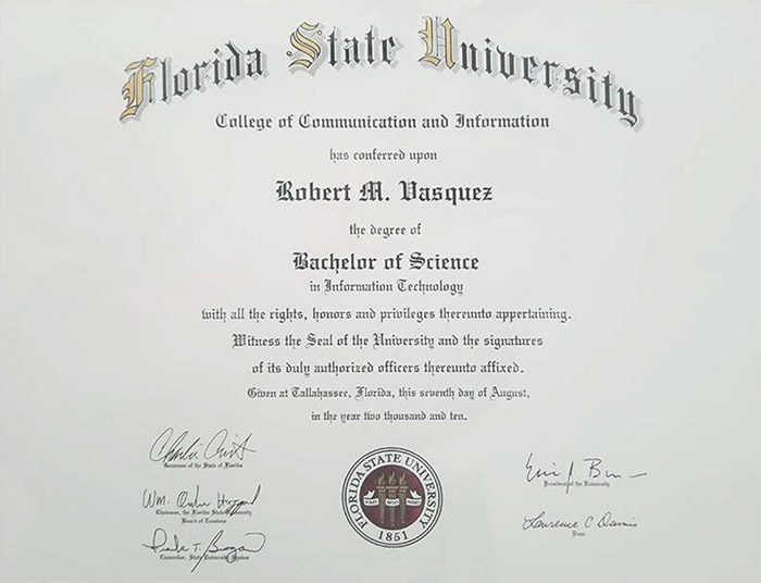 Picture of Robbie Vasquez's diploma from Florida State